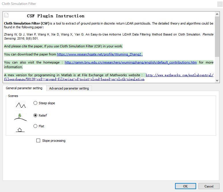 Cloud Compare CSF Filter settings