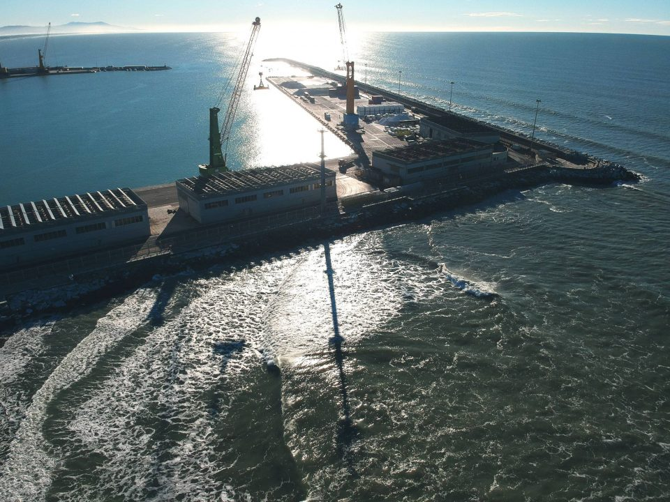 Carrara harbour aerial shot during a swell