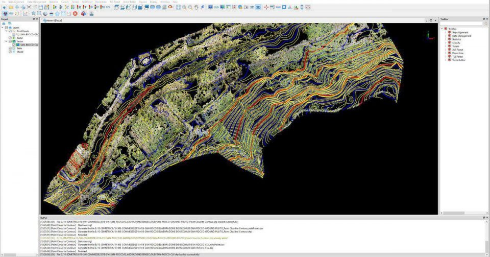 Contours from a point cloud in Lidar360