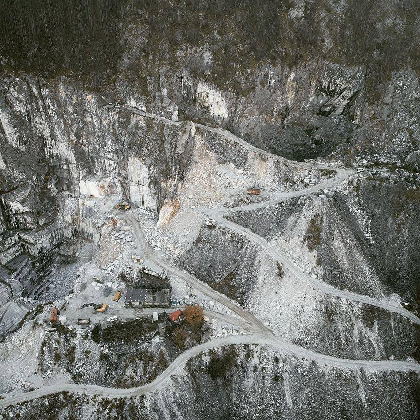 Aerial photography of a white marble quarry